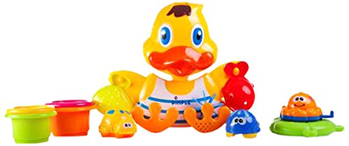 Dimple DC11555 Duck Wall Mounted Bath Toy with Scoops and Floatable Sea Toys