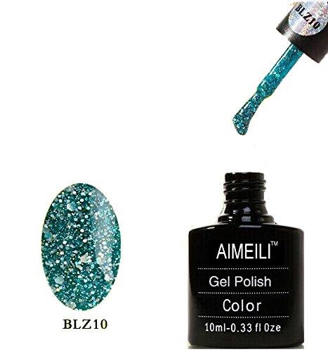 Aimeili Soak Off Uv Led Gel Nail Polish - Diamond Glitter Teal Blue Green Blz 10 10Ml