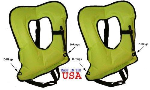 2 PACK Yellow US Made Explorer Adult Snorkel, Snorkeling Vest