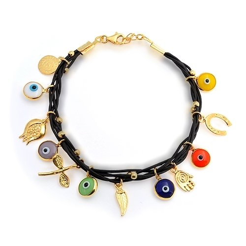 Bling Jewelry Multi Color 14k Gold Vermeil Brown Leather Evil Eye Charm Bracelet