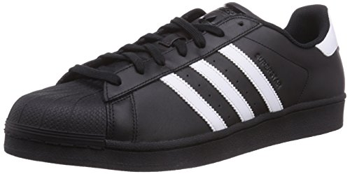 adidas Superstar Foundation Sneakers, Uomo, Nero (Black-White Stripe-Black Sole), 45  1/3