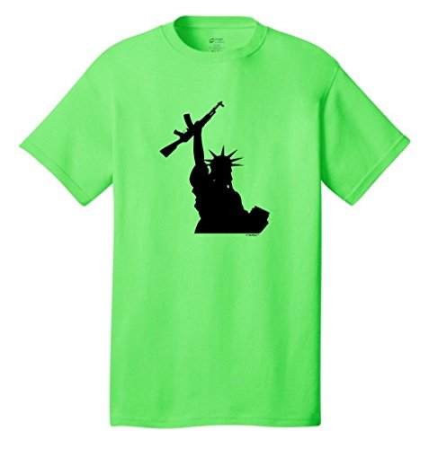 Statue Of Liberty Holding Assault Rifle Neon T-Shirt Large Neon Green