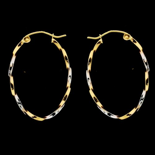 14KT Gold Hoops 2T LG Twisted Oval Shape