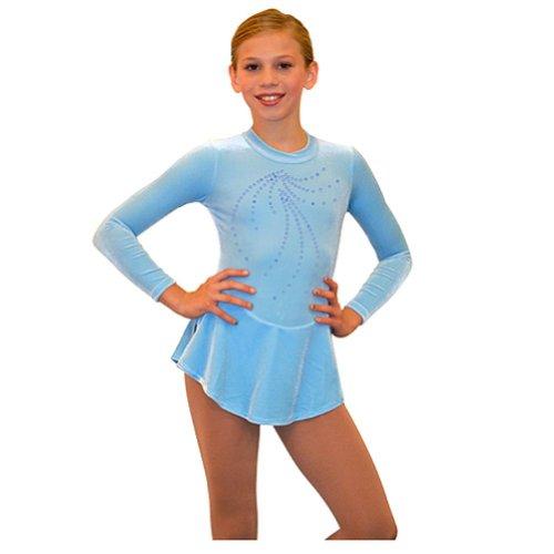 Chloe Noel Little Girls Size 4/6 Blue Velvet Long Sleeve Skating Dress