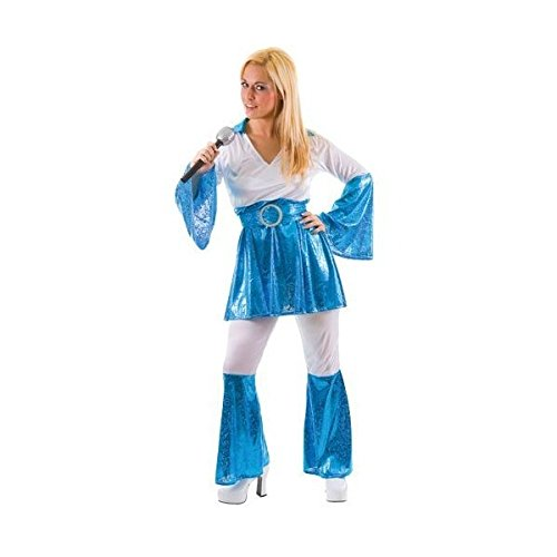 Mamma Mia 70s Disco Blue Ladies Costume. Size 18-20