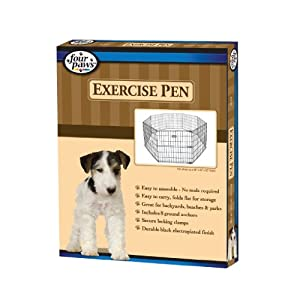 Four Paws Black Lightweight Exercise Pen, 8-Panel, 16-Feet by 36-Inch