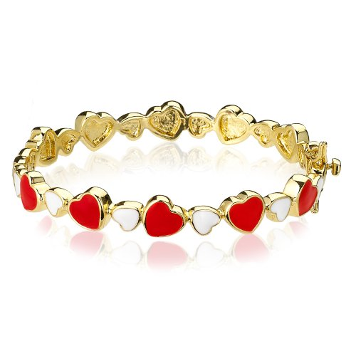 14ct Gold Plated Hinged Bangle, with multi coloured cut out enamel Hearts, to fit ages 3 to 5 (45mm)