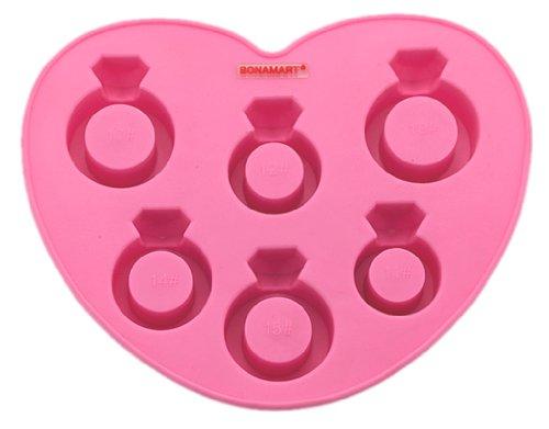 BONAMART ® Fashion Silicone Molds Ice Love Ring Freeze Shape Chocolate Molds Ice Trays Lattice