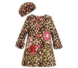 Leopard Fleece Appliqued Flower Coat and Hat Set Size 5