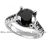 Huge 3.55ct Fancy-Black Diamond Engagement Ring 14k White Gold