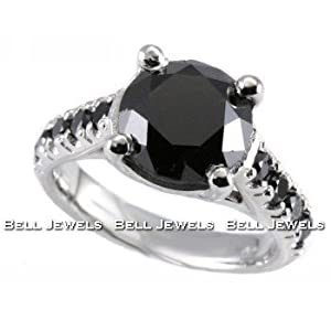 Click to buy Huge Fancy Black Diamond Engagement Ring 14K White Gold from Amazon!