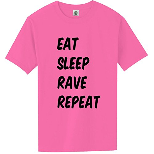 Eat, Sleep, Rave, Repeat Short Sleeve Bright Neon T-Shirt – in Pink – Small