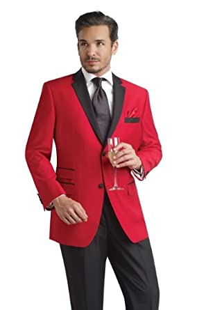 Men's Red Tuxedo Jacket with Black Trousers Contemporary Styling in Slim Fit - Black Silk Long Tie available! (46 Regular, Red Tuxedo with Black Silk Long Tie)