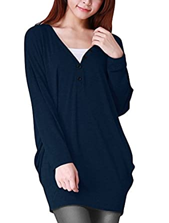 Allegra K Ladies V Neck Buttons Decor Long Batwing Sleeve Loose Tunic Blouse