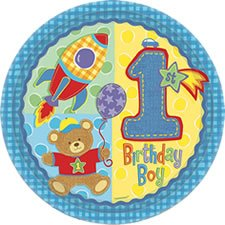 Hugs and Stitches Boy's 1st Birthday Lunch Plates 8ct