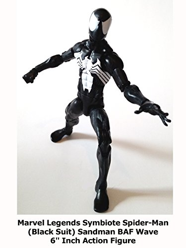 "Review: Marvel Legends Symbiote Spider-Man (Black Suit) Sandman BAF Wave 6"" Inch Action Figure"