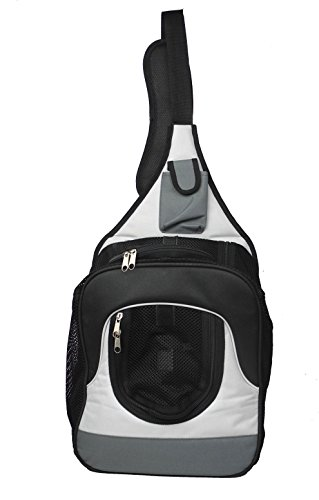 Single Strap Over-The-Shoulder Navigation Hands Free Backpack and Front pack Pet Carrier, Grey, White, Black, One Size