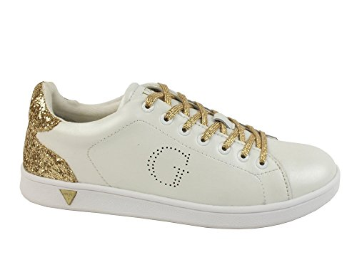GUESS sneakers sportiva donna PELLE WHITE GOLD BIANCO FLSUP3-SUP12 40