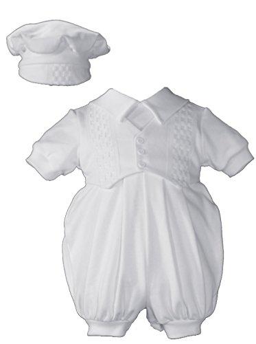 Short White Boys Celebration Christening Baptism Set with Hat, NB