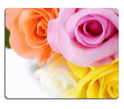 Colorful Roses Orange Yellow White Pink Flowers Macro Shot Mouse Pads Customized Made To Order Support Ready 9 7/8 Inch (250Mm) X 7 7/8 Inch (200Mm) X 1/16 Inch (2Mm) High Quality Eco Friendly Cloth With Neoprene Rubber Liil Mouse Pad Desktop Mousepad Lap front-996410