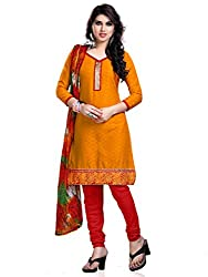 Anjali Presents Trendy Orange & Red Embroidered Dress Material