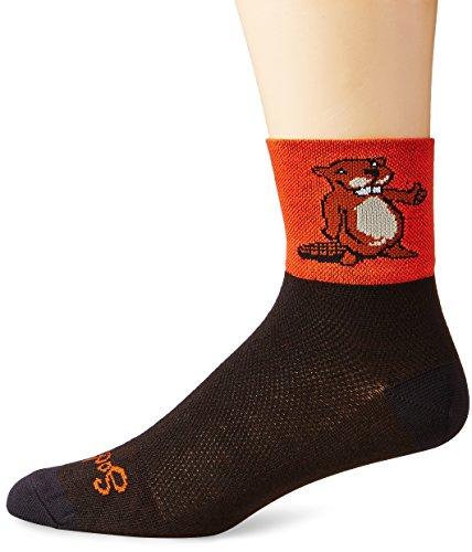 Sockguy Men'S Beaver 2 Sock, Orange/Black, Small/Medium