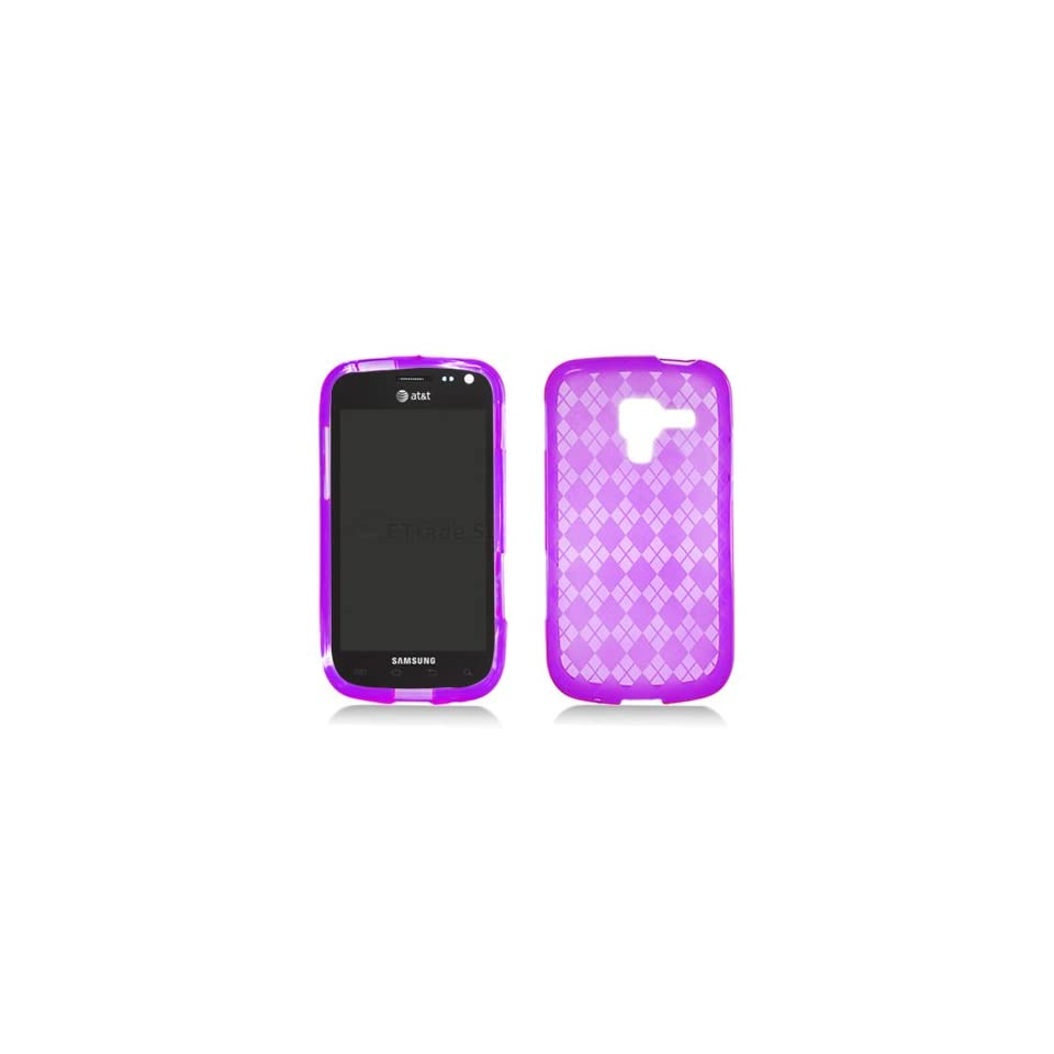 Clear Purple Flex Cover Case for Samsung Galaxy Exhilarate SGH I577 Cell Phones & Accessories