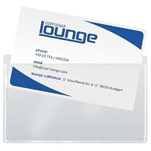 Sigel VZ115 Visitenkarten-Taschen, 100 Stück, selbstklebend, oben offen,  (max. 90 x 55 mm)