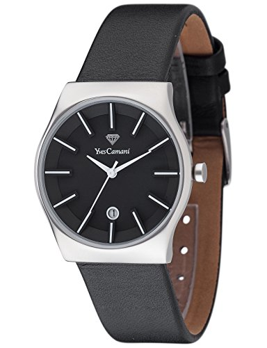 Yves Camani Women's Louanne Quartz Watch with Black Dial Analogue Display and Black Leather Bracelet YC1079-D
