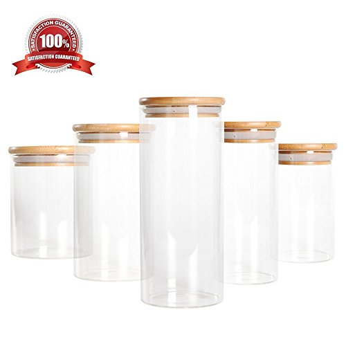 Luxtea Glass Jar borosilicate canister with Bamboo Lid and Silicone Sealing Ring, Cookie Candy Spice Tea Nuts Cereal Storage (Bamboo Lid Glass Container compare prices)