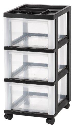 Iris 3 Drawer Storage Cart With Organizer Top Black