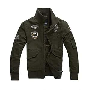 Amazon.com: Rsan Men's Cotton Denim Stand Collar Air Force Jacket
