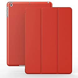 KHOMO DUAL Red Polyurethane Cover FRONT + Hard Rubberized BACK Case for Apple iPad 2 & 3 and 4th Generation