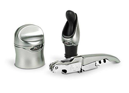 Metrokane Rabbit 3-Piece Zippity Wine Tool Kit, Silver