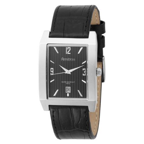 Armitron Men's 204599BKSVBK Stainless Steel and Black Leather Strap Watch