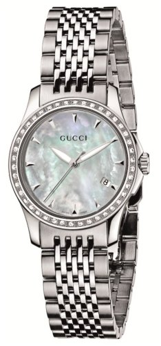 Gucci Women's YA126506 G-Timeless Diamond Bezel MOP White Dial Watch
