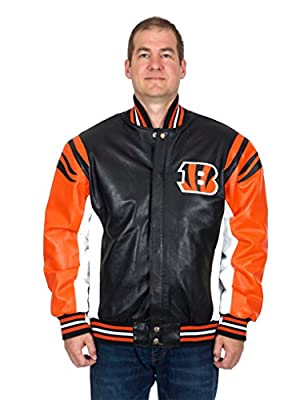 Cincinnati Bengals Men's Team Leather Jacket with Hand Crafted Leather Team Logos