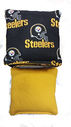 Pittsburgh Steelers ACA Regulation Size / Weight Duck Cloth Cornhole Bags Baggo (4 Bags) (Black on Gold) (Steeler Corn Hole Bags compare prices)