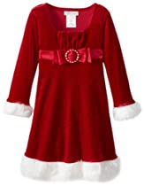 Bonnie Jean Girls 2-6X Santa Dress, Red, 4