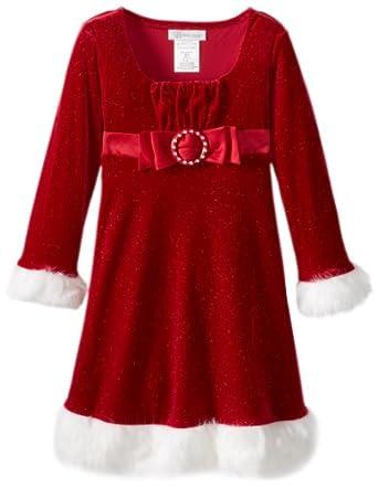Bonnie Jean Little Girls' Santa Dress, Red, 6X