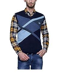 Leebonee Acrylic Men's Sleeveless Navy Blue Sweater