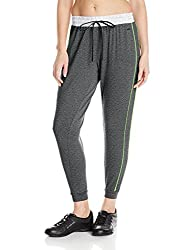 Zobha Women's Roth Relaxed Track Pant with Piping, Heather Black, X-Large