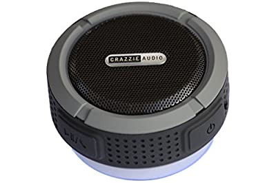 CRAZZIE, Bluetooth Waterproof Portable Speaker - Indoor / Outdoor - Kitchen Bathroom Shower Patio Pool Jet Ski Boat Watercraft - Suction Cup for Universal Car and Truck Audio - Hands Free System for iPhone Android Pairing ***100% Guaranteed***