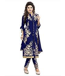 Pushkar Sarees Women's Georgette Semi Stitched Dress Material (Pushkar Sarees_108_Blue_Free Size)