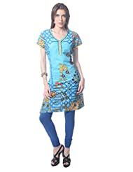 Saving Tree Light Blue Knee Length Kurta With A Very Different Print