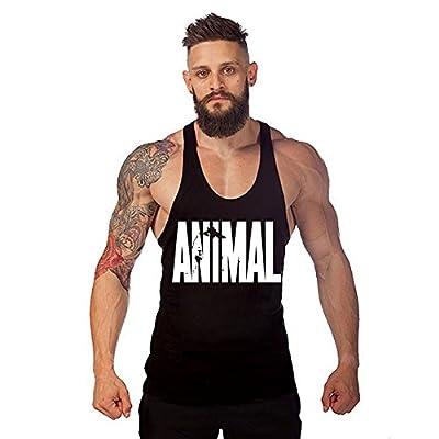 WAYLONGPLUS Mens Animal Letter Print Fitness Gym Stringer Tank Tops for Bodybuilding Muscle Workout