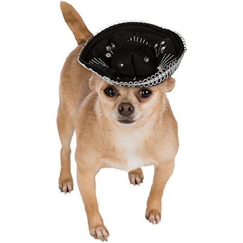 Noir et Argent Pet Sombrero Costume pour chien chiot Mariachi mexicain Taco Bell Fancy Dress