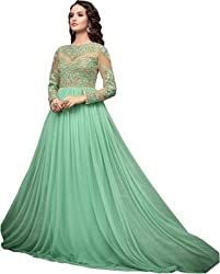 Kabeer Creation Green Net Semi Stiched Embroidered Gown