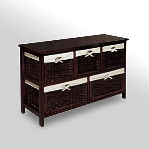 Badger Basket Five Basket Storage Unit with Wicker Baskets from Badger Basket Company