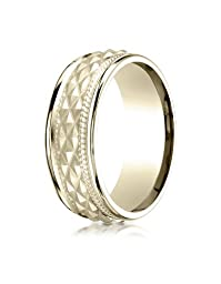 IceCarats Designer Jewelry 14K Yellow Gold 8Mm Comfort Fit Round Edge Cross Hatch Patterned Band Size 11